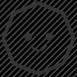 emoji, emoticons, face, octagon, shapes, smile, smiley icon