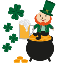 gold, happy, irish, irish pot, leprechaun, patrick icon