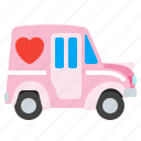 car, holidays, love, shipping icon