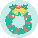 bell, christmas, decoration, greeting, santa, wreath, xmas icon