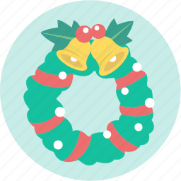 bell, christmas, decoration, greeting, santa, wreath, xmas icon