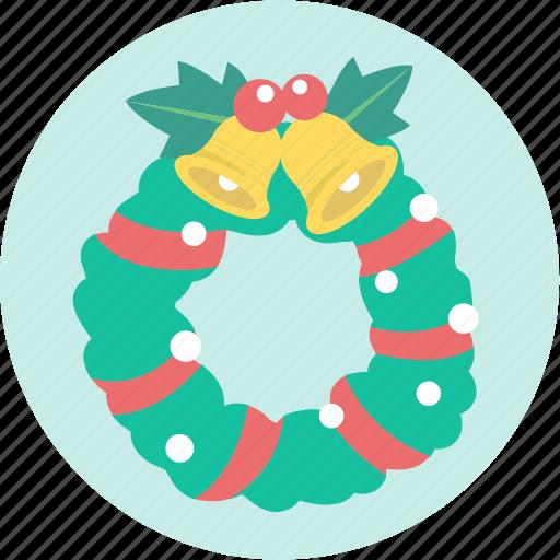 bell, christmas, decoration, greeting, wreath, xmas icon