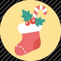 christmas, gift, santa, sock, x'mas icon