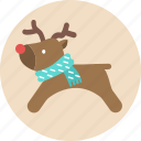 christmas, deer, reindeer, santa, snow, x'mas icon