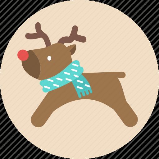 christmas, deer, reindeer, santa, snow, x'mas icon