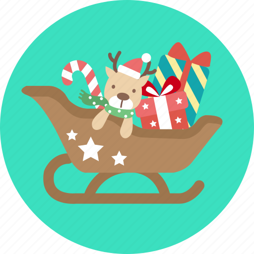 christmas, gift, greeting, santa, sled, snow, x'mas icon