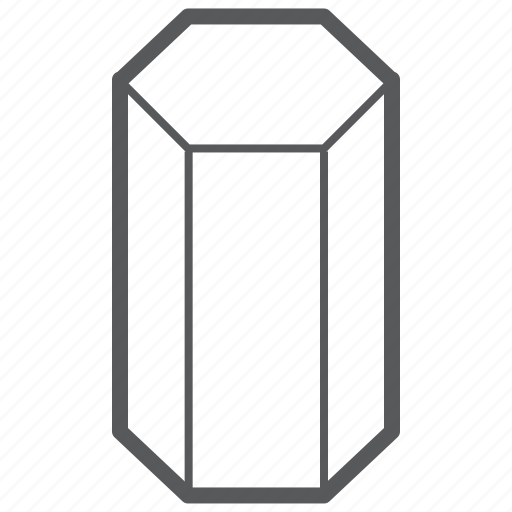 geometry, hexagonal, prism, shape icon