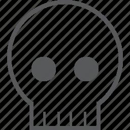 caution, danger, dead, death, head, horror, skull icon
