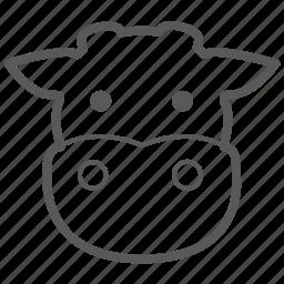 animal, animals, cow, face, farm, milk icon