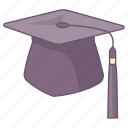 board, cap, graduate, graduation, hat, headwear, mortar icon