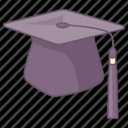 board, cap, graduate, graduation, hat, headwear, mortar icon