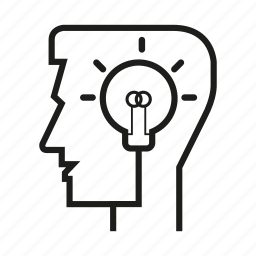 bulb, head, light, man, mind, person, think icon