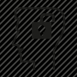head, key, lock, man, mind, person, think icon