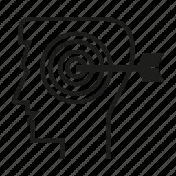 dart, head, man, mind, person, target, think icon