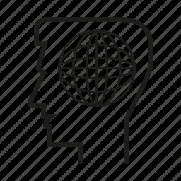 globe, head, man, mind, person, think icon