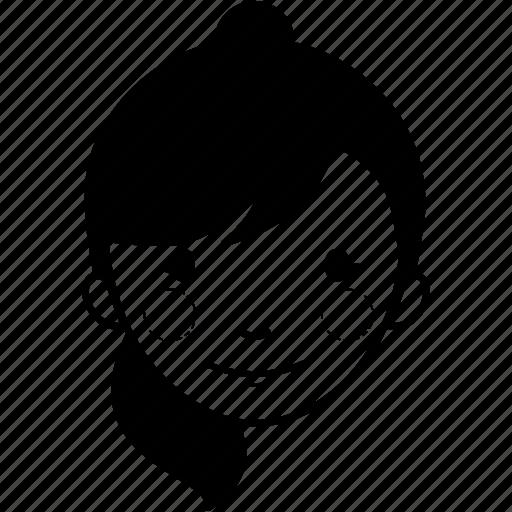 avatar, female, girl, ponytail hair, profile, user, woman icon