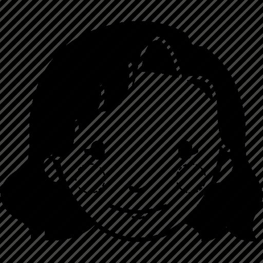 avatar, fashion, female, girl, lady, wavy short hair, woman icon
