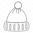 cap, hat, line, outline, thin, winter, woolen hat icon