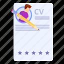 cv, business, woman, computer, hand, headhunter