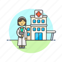 building, care, doctor, health, help, hospital, medical, woman icon