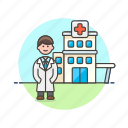 building, care, doctor, health, help, hospital, man, medical icon