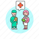 bill, care, fee, health, hospital, insurance, pay, woman icon