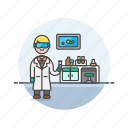 health, hospital, man, medical, research, scientist icon