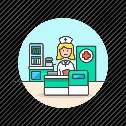 care, health, help, hospital, medical, nurse, reception, woman icon