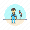 blood, care, health, help, hospital, man, medical, nurse icon