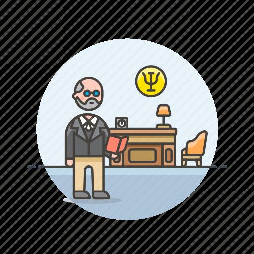 brain, care, freud, health, help, mental, office, psychologist icon