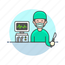 care, cut, health, help, hospital, medical, monitor, surgeon icon