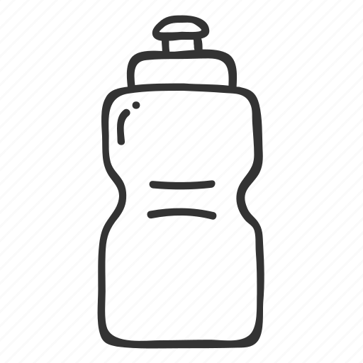 bottle, doodle, drink, fitness, hand drawn, health, water icon