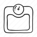 diet, doodle, fitness, hand drawn, health, scale, weight icon