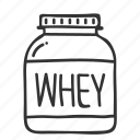 doodle, fitness, hand drawn, health, protein, supplement, whey icon