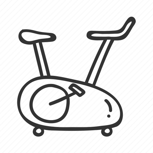 bicycle, bike, doodle, fitness, hand drawn, health, stationary icon