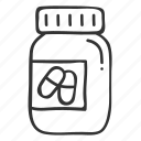 doodle, drug, fitness, hand drawn, health, pill, supplement icon