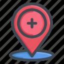 icon, location, medical, set icon