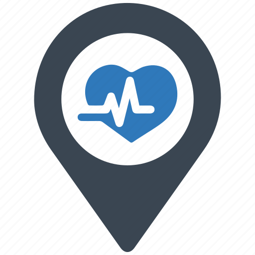 health, hospital, location, map, medical, pin, pointer icon