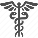 caduceus, pharmacy, snakes, staff of hermes icon