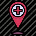 healthcare, location, pin, hospital, navigation
