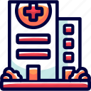 building, bukeicon, cross, health, hospital, medicine, red icon