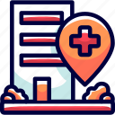 bukeicon, cleanliness, destinations, health, hospital, location, pins icon