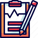 bukeicon, health, heart, medical, pencil, rate, report