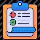 checkup, diagnose, medical, record icon