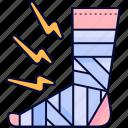bandage, foot, leg, plaster, plastered