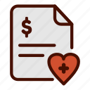 bill, healthcare, hospital, invoice, medical, payment icon