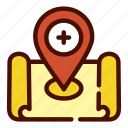 healthcare, hospital, location, map, medical icon
