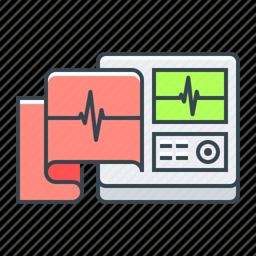 cardiogram, electrocardiographs, medical equipment, medicine icon
