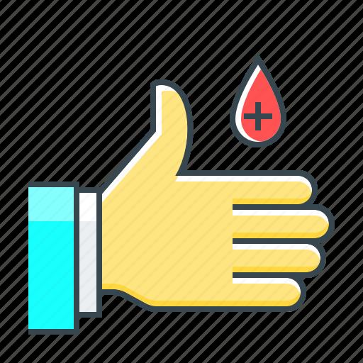 aid, blood, donor, hand, healthcare, medicine icon
