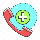 call, contact, emergency, emergency call, handset, medicine, phone icon